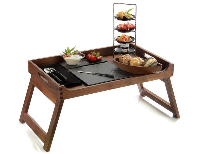 Solid wood breakfast tray with foldable feet SOLID | Tray by Zieher