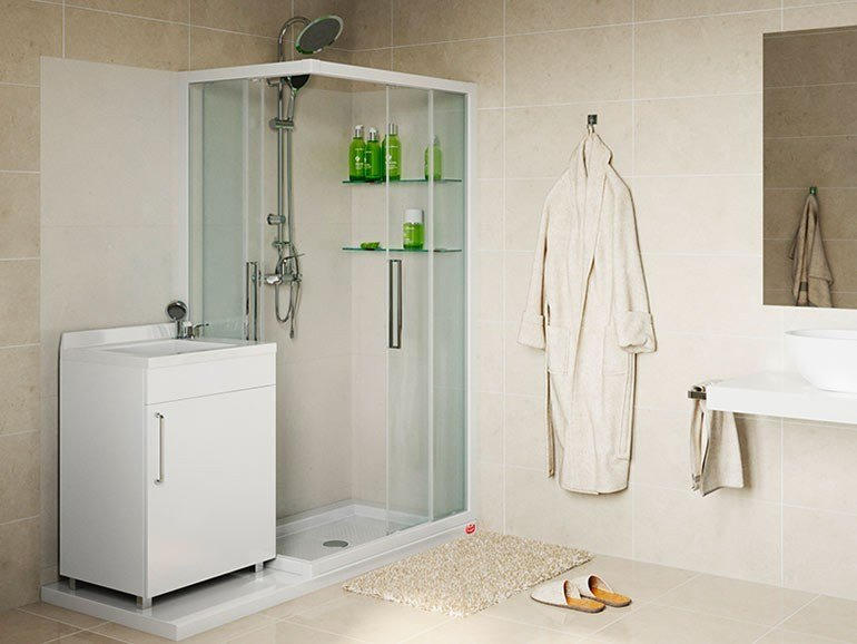 Corner custom shower cabin SOLUZIONE LAVATOIO by Remail by G.D.L.