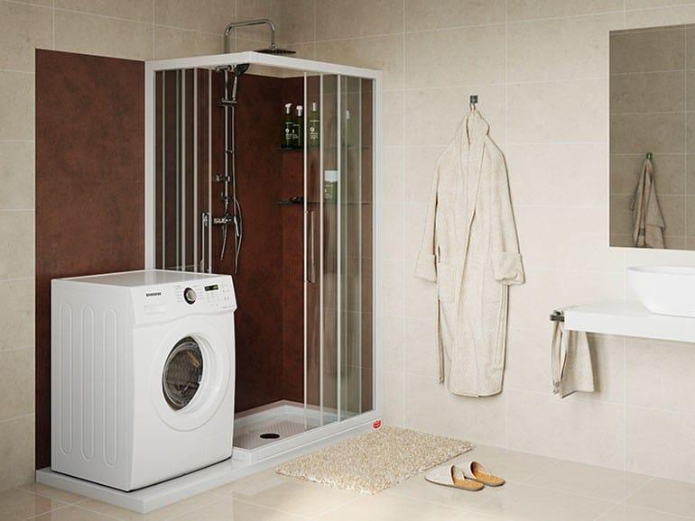 Box doccia angolare su misura soluzione lavatrice remail by g.d.l.