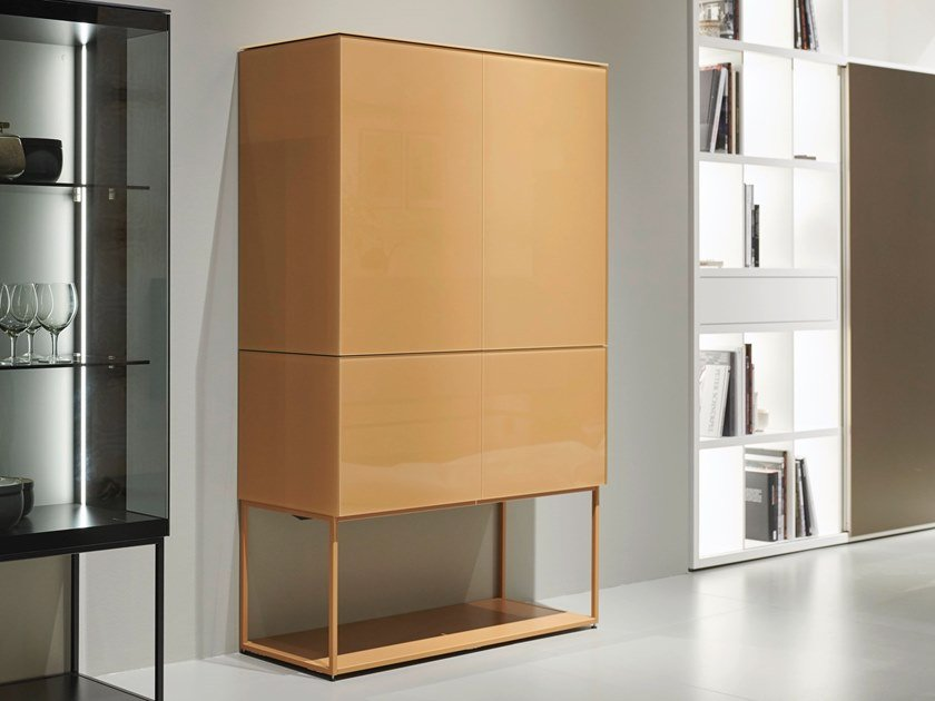 Lacquered wooden highboard with doors SOMA | Lacquered highboard by Kettnaker