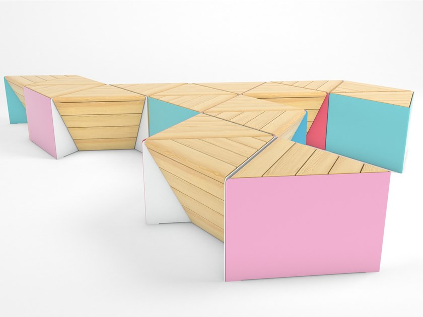 Modular steel and wood bench SONOBE by Factory Furniture