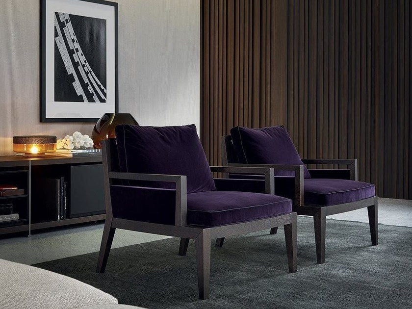 Upholstered fabric armchair with armrests SOORI HIGHLINE by poliform