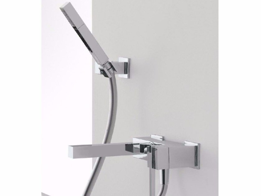 Wall-mounted bathtub mixer with hand shower SOQQUADRO | Wall-mounted bathtub mixer by ZAZZERI