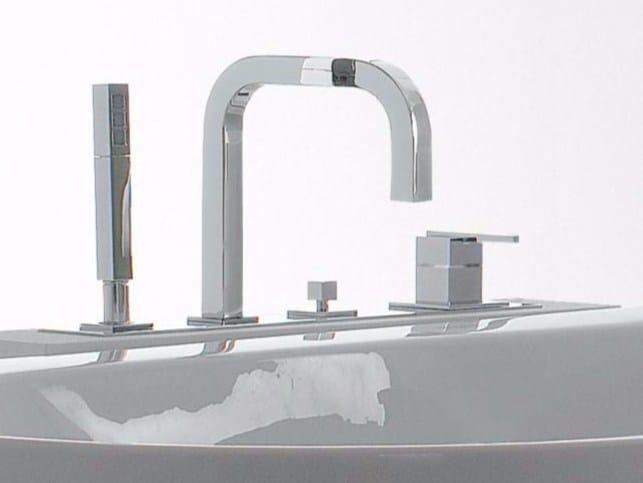 4 hole bathtub set with hand shower SOQQUADRO | Bathtub set by ZAZZERI