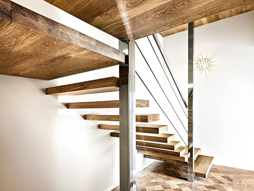 L-shaped wooden cantilevered staircase SOSPESIA by Officine Sandrini