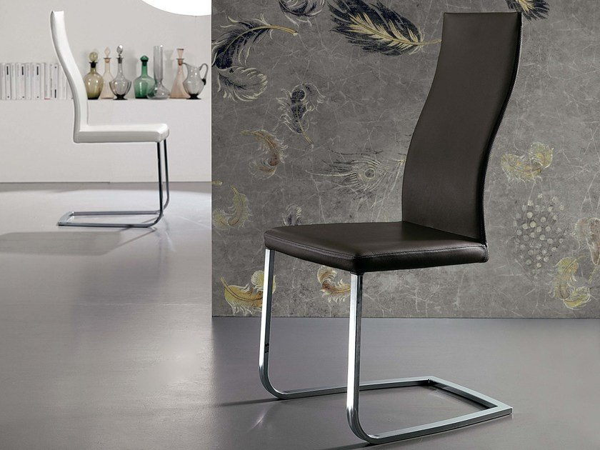 Sled base leather chair SOUL by Ozzio Italia