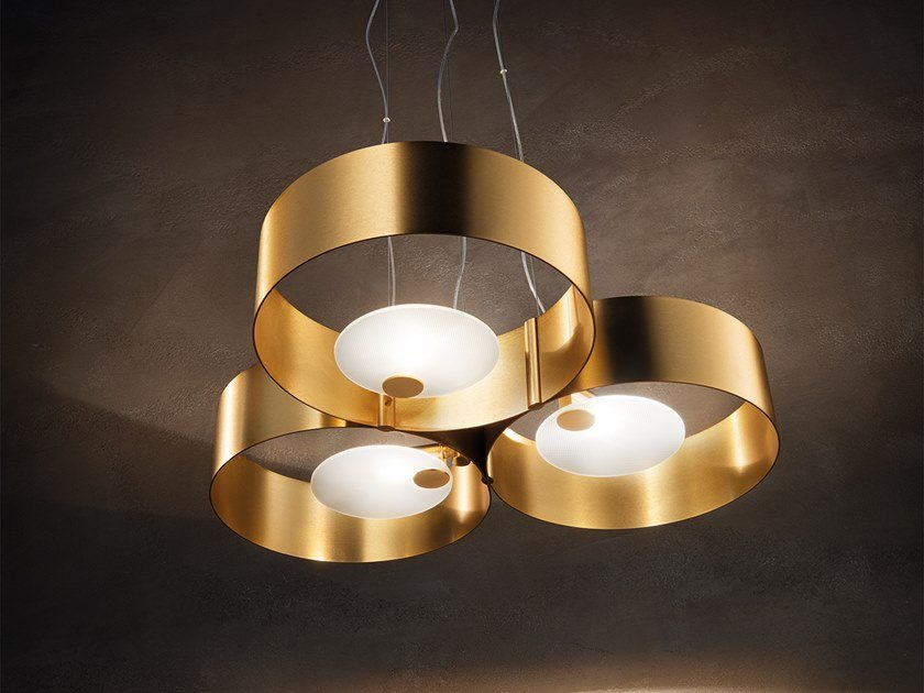 Direct light metal pendant lamp SOUND OR3 by Masiero