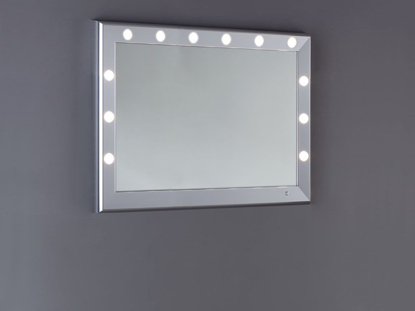 Contemporary style framed aluminium bathroom mirror with integrated lighting SP300 by UNICA by Cantoni
