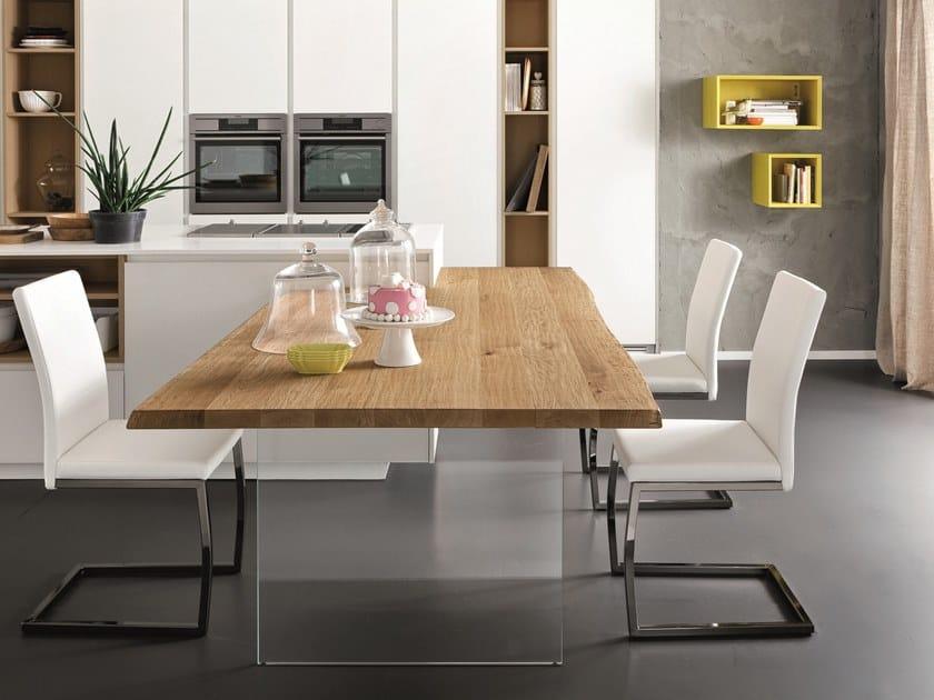 Tavolo a penisola da cucina rettangolare in rovere sp 45 for Tavolo cucina rovere