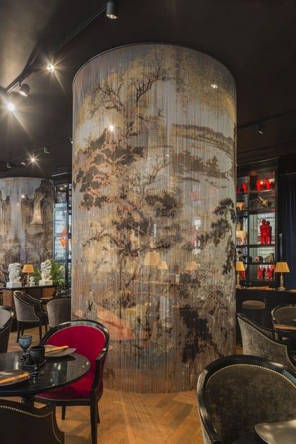 Chain curtain divider - Aluminium Chain Curtain Space Divider Curved Restaurant By Kriskadecor