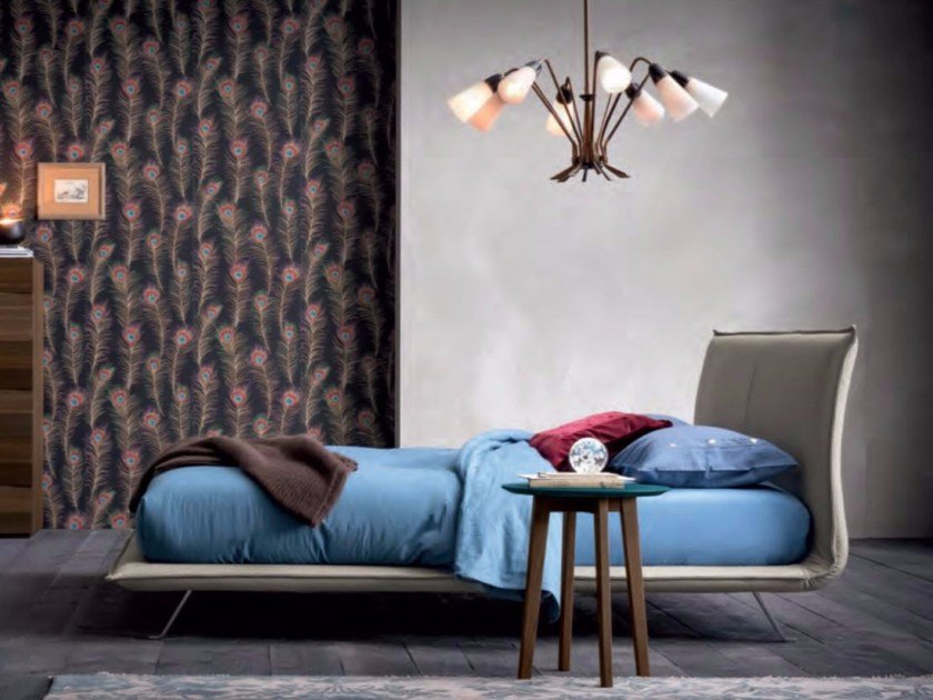 Upholstered fabric double bed SPACE by Dall'Agnese