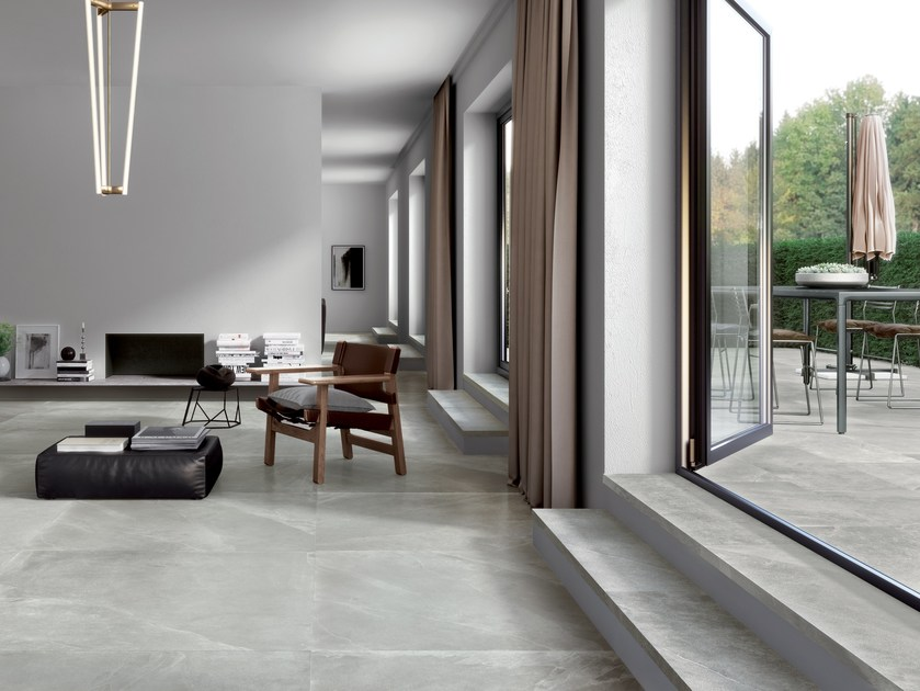 Indoor/outdoor porcelain stoneware flooring with stone effect SPACES LIGHT by CERAMICA FONDOVALLE