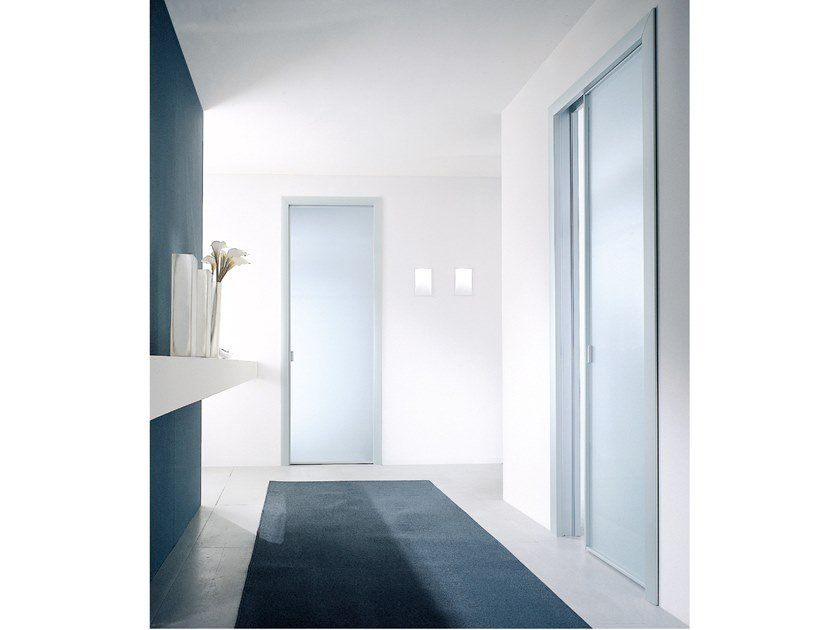 Satin glass pocket sliding door SPARK | Pocket sliding door by Longhi