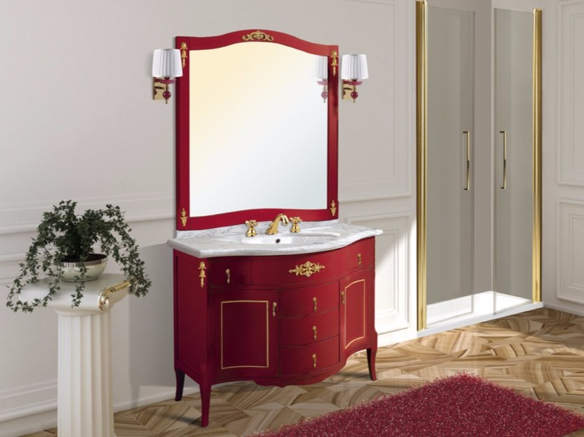 Vanity unit with doors with drawers with mirror SPARTA CM11CY by LA BUSSOLA