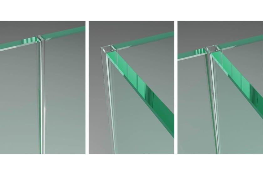 Guarnizioni in policarbonato. Profilo trasparente da applicare sullo spessore del vetro per sistemi di pareti vetrate.