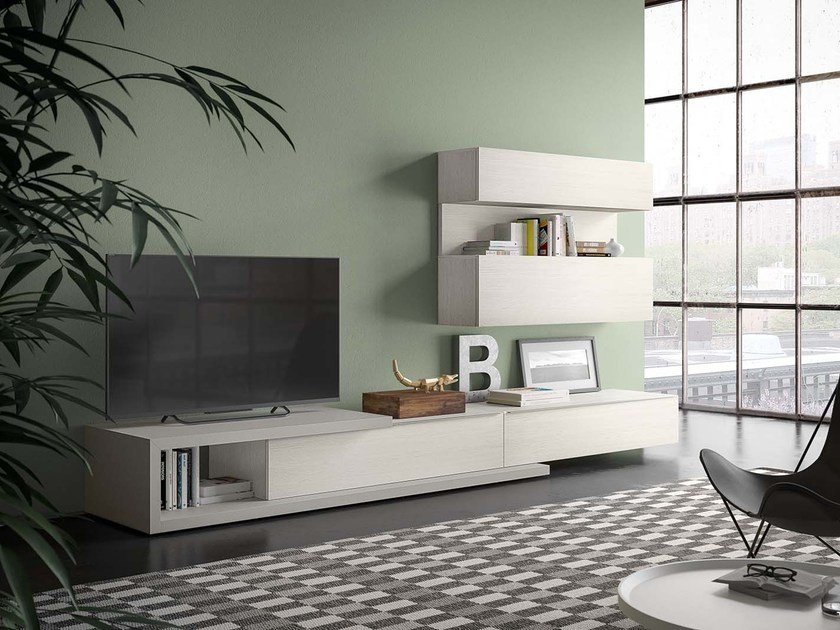 Sectional modular storage wall SPAZIO S309 by PIANCA