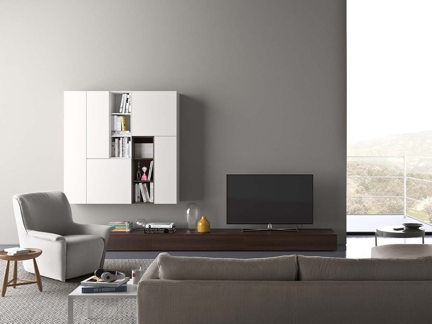 Sectional modular storage wall SPAZIO S310 by PIANCA