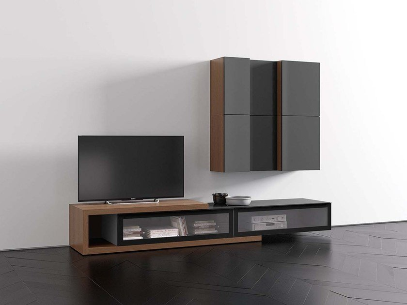 Sectional modular storage wall SPAZIO S411 by PIANCA