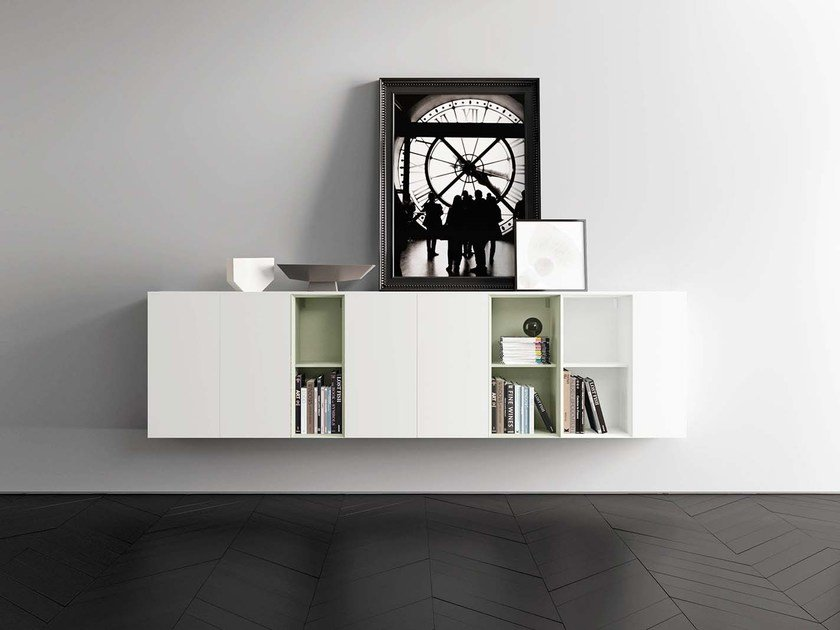 Lacquered suspended sideboard SPAZIO S413 by PIANCA