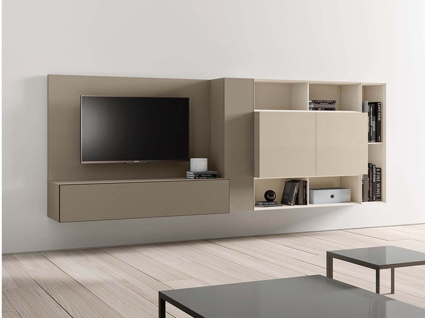 Sectional wall-mounted lacquered storage wall SPAZIO S430 by PIANCA