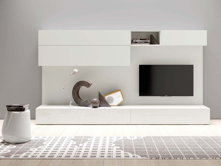 Sectional lacquered modular storage wall SPAZIO S431 by PIANCA