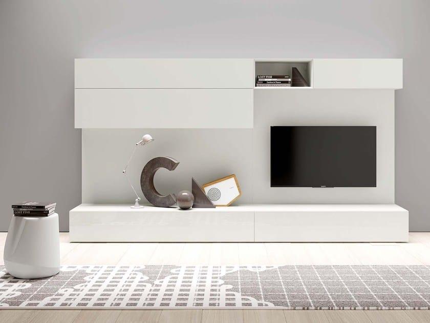 Parete attrezzata componibile laccata modulare SPAZIO S431 by PIANCA
