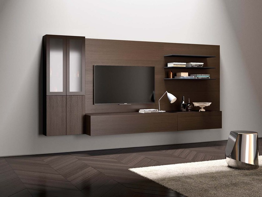 Sectional wall-mounted modular storage wall SPAZIO S433 by PIANCA