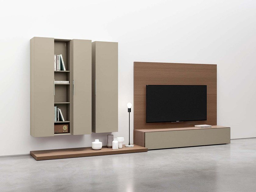 Sectional wall-mounted lacquered storage wall SPAZIO S438 by PIANCA