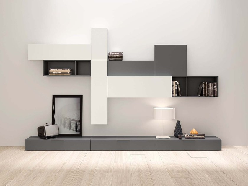 Lacquered storage wall SPAZIO S439 by PIANCA