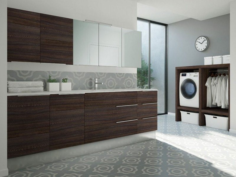 Laundry room cabinet with sink for washing machine SPAZIO TIME 08 | Laundry room cabinet with sink by Idea