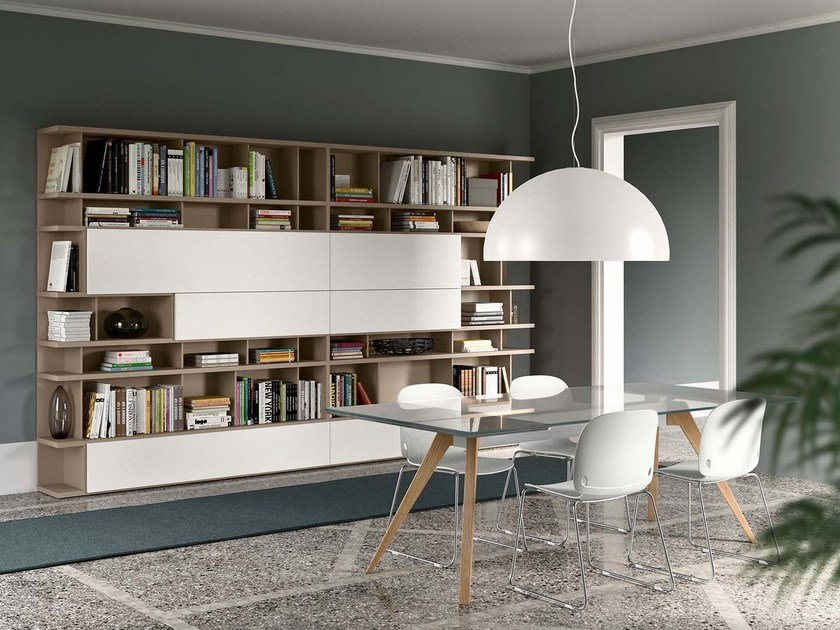 Freestanding lacquered bookcase SPAZIOTECA   Bookcase by PIANCA