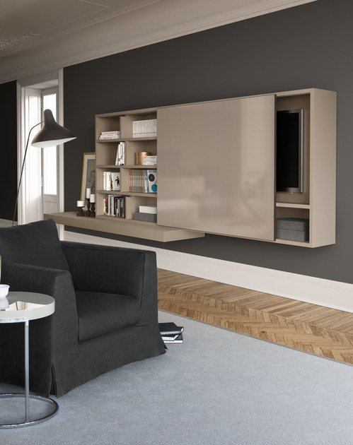 Sectional wall-mounted lacquered storage wall SPAZIOTECA SP015 by PIANCA