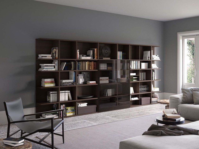 Open lacquered bookcase SPAZIOTECA SP017 by PIANCA