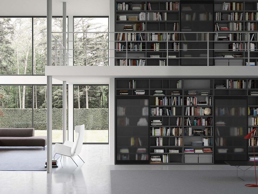 Lacquered modular bookcase SPAZIOTECA SP018 by PIANCA