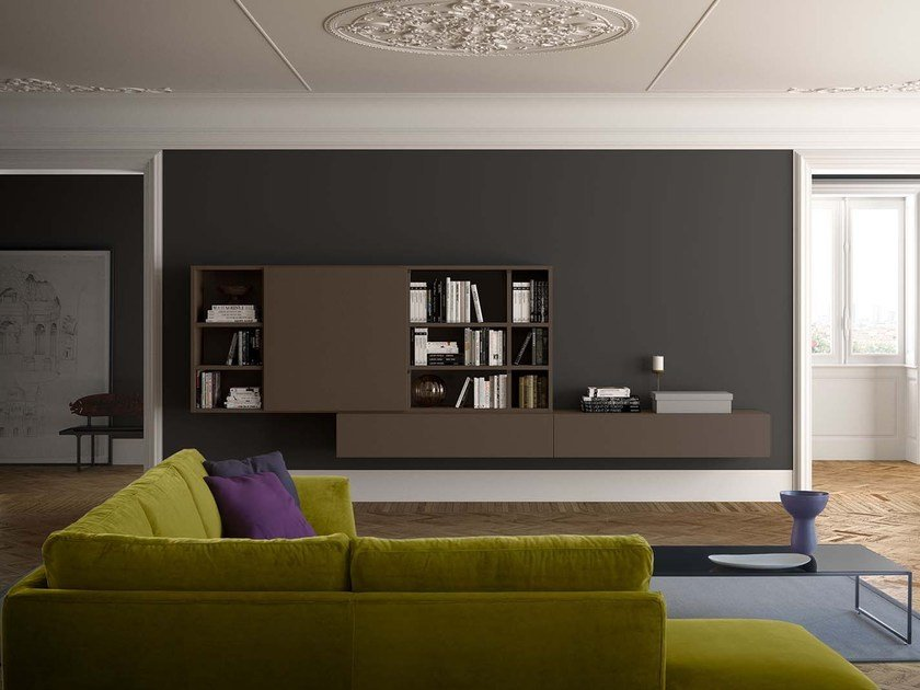 Sectional wall-mounted lacquered storage wall SPAZIOTECA SP024 by PIANCA