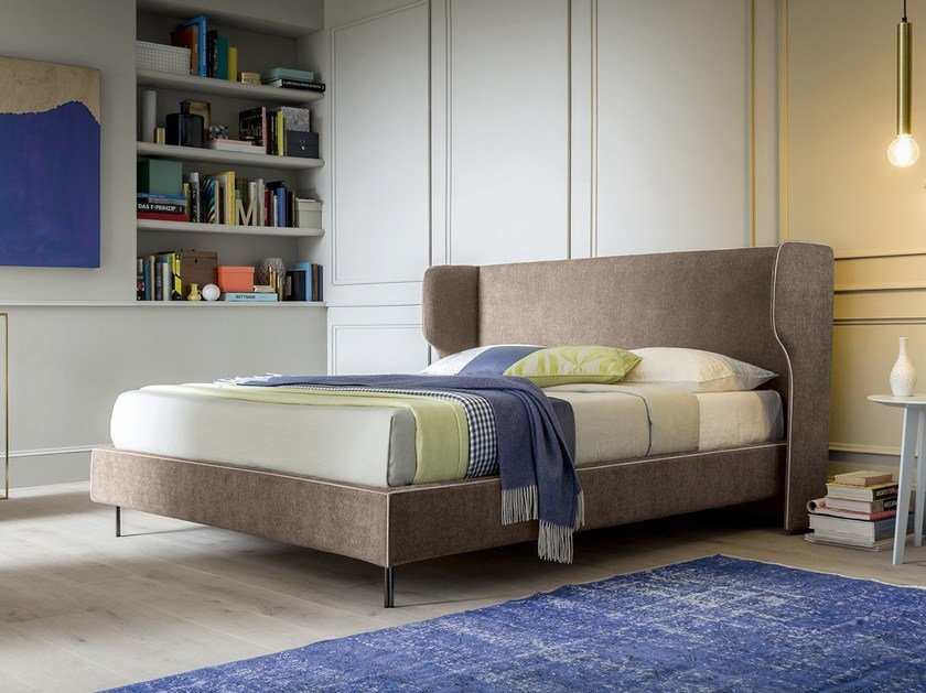 Contemporary style upholstered fabric storage bed with upholstered headboard SPENCER by Felis