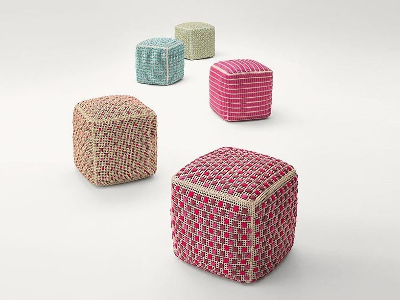 Fabric pouf with removable lining SPEZIE by paola lenti