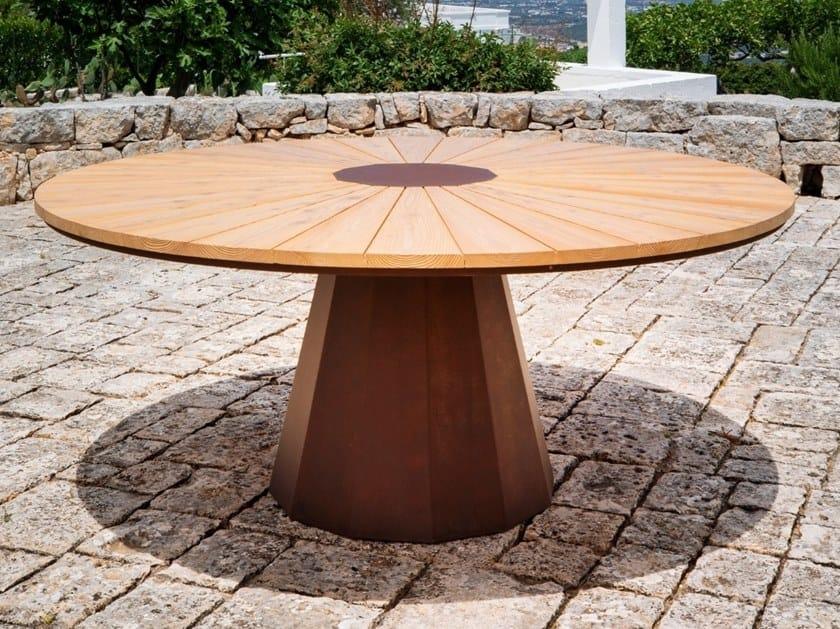 Round Corten™ garden table SPICA by TrackDesign