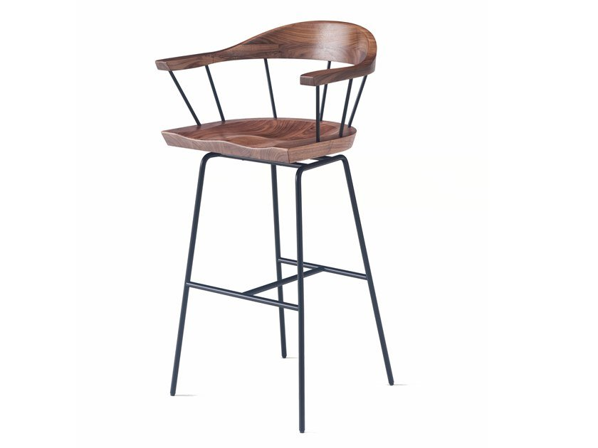 High steel and wood barstool with armrests SPINDLE | Barstool by BassamFellows