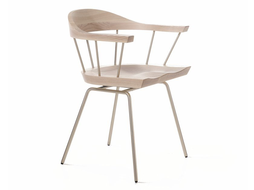 Steel and wood chair with armrests SPINDLE | Chair by BassamFellows