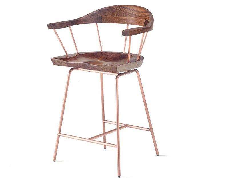 Steel and wood counter stool with armrests SPINDLE   Counter Chair by BassamFellows