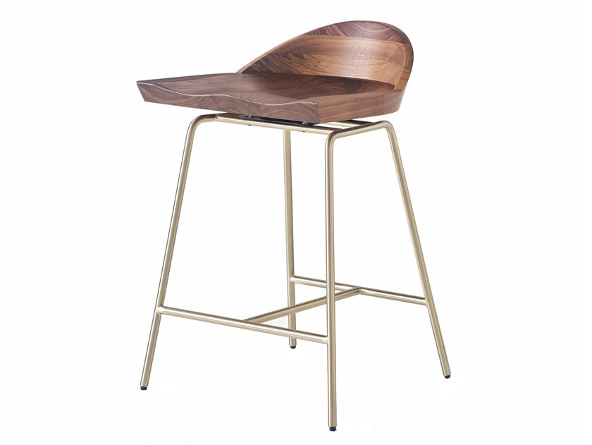 Steel and wood stool with back SPINDLE   Stool with back by BassamFellows