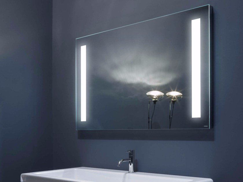 Wall-mounted bathroom mirror with integrated lighting SPIO by Antonio Lupi Design