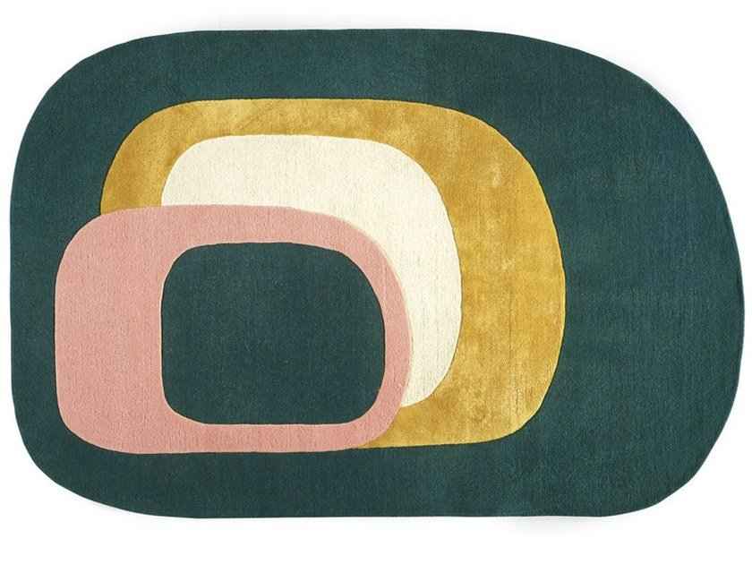 70s style fabric rug with geometric shapes SPIRIT by Toulemonde Bochart