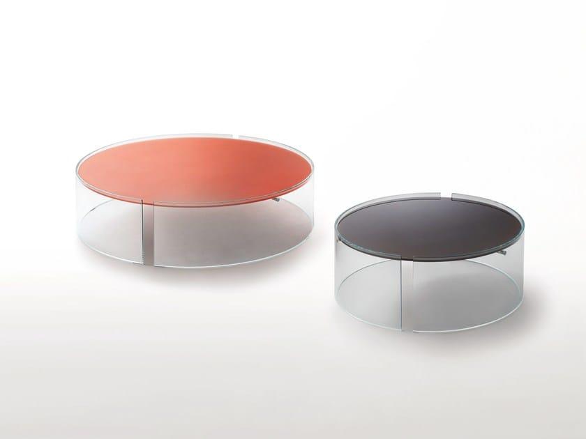 Low round crystal coffee table SPLIT by Glas Italia