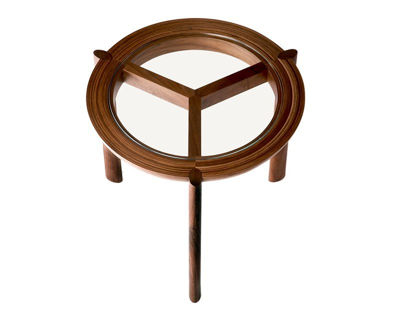 Round wood and glass coffee table SPOKE | Coffee table by BassamFellows