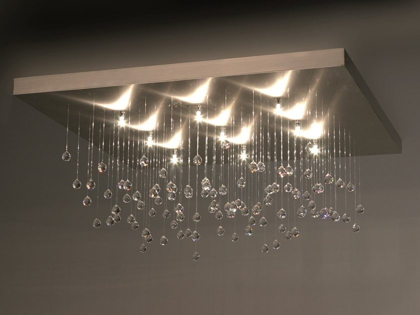 Metal ceiling lamp with crystals SPRANKLING C9 by ILFARI