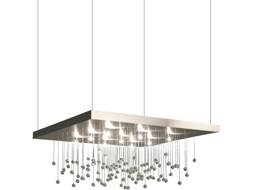 Direct light metal pendant lamp with crystals SPRANKLING H9 by ILFARI