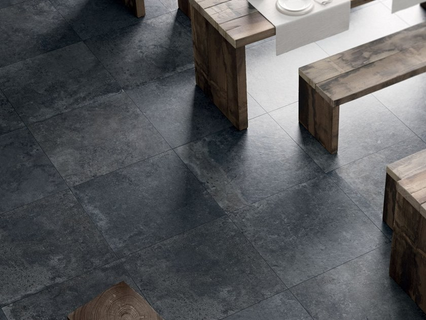Porcelain stoneware wall/floor tiles with stone effect SPRINGSTONE BLACK by Marca Corona