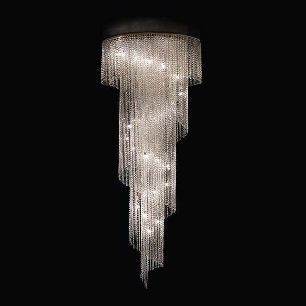 Contemporary style LED handmade crystal chandelier SPYRAL | Crystal pendant lamp by MULTIFORME